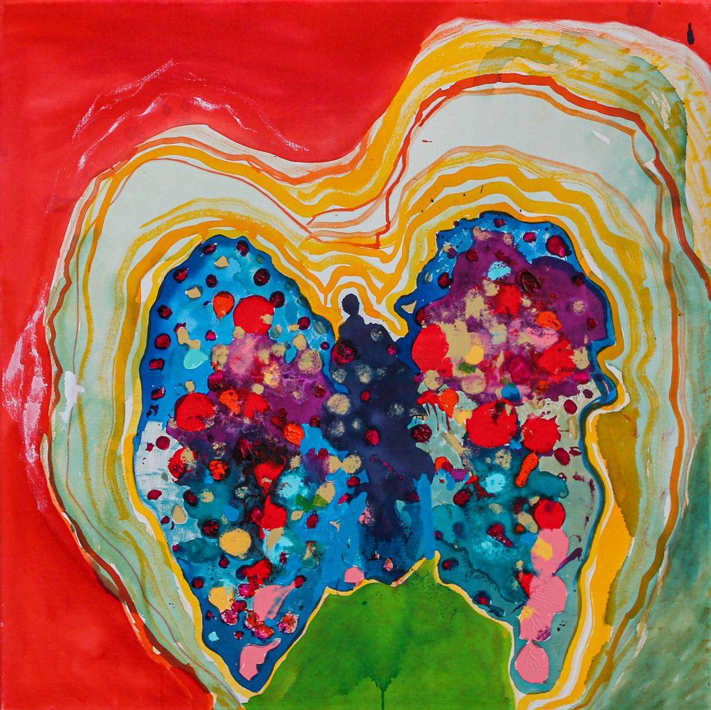 Värikäs maalaus, jossa on keskellä perhosta muistuttava muoto, joka väreilee ympärilleen. Teoksen päävärit ovat punainen, keltainen, vihreä ja sininen.