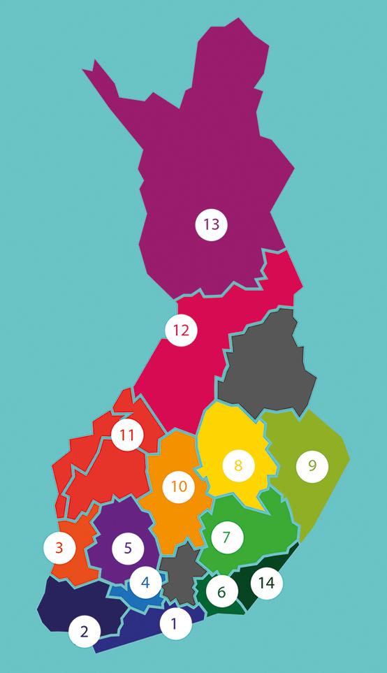 Suomen kartta, johon on merkitty Taikusydämen alueverkosto numeroilla.