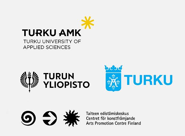 Turun AMK:n, Turun yliopiston, Turun kaupungin ja Taiteen edistämiskeskuksen logot.